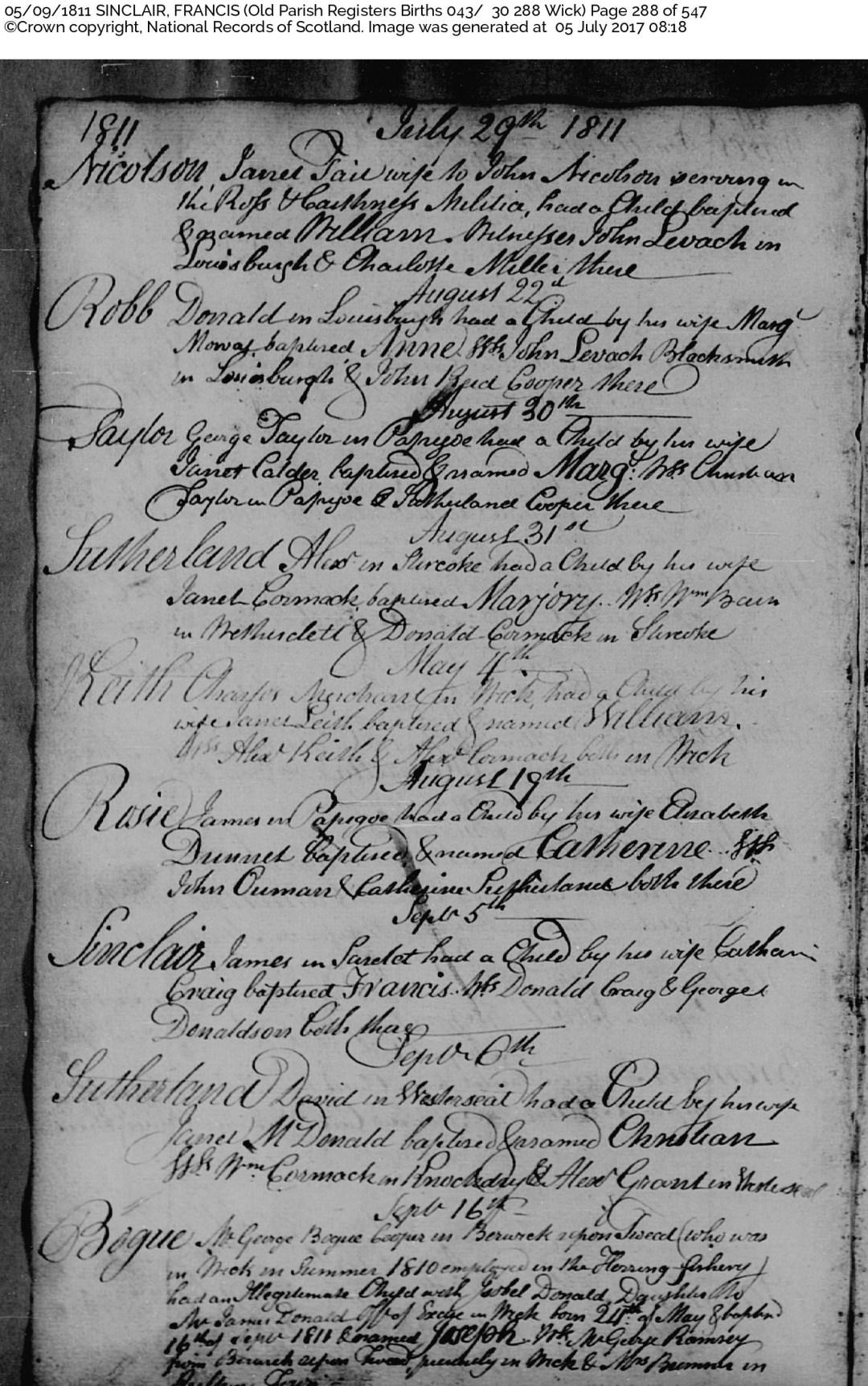 Francis Sinclair birth OPR 1811