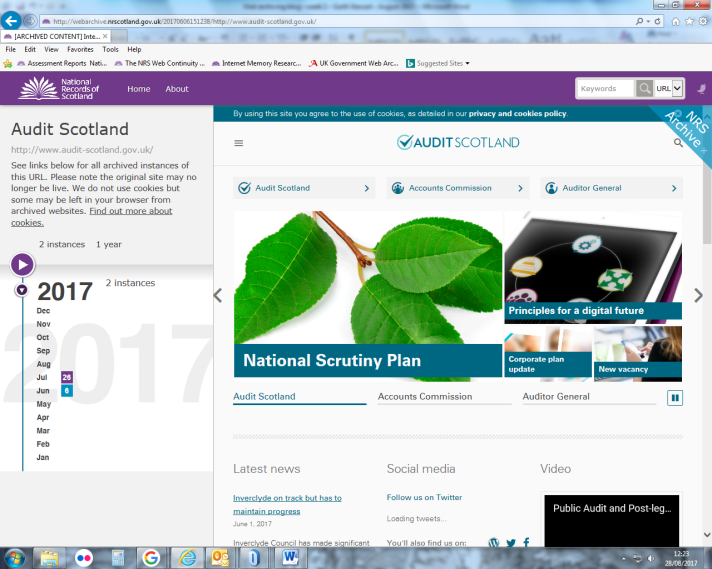 View of the Audit Scotland websites, as captured by NRS on 6th June 2017. Note the page banner and rewritten URL to show users they are in the web archive.