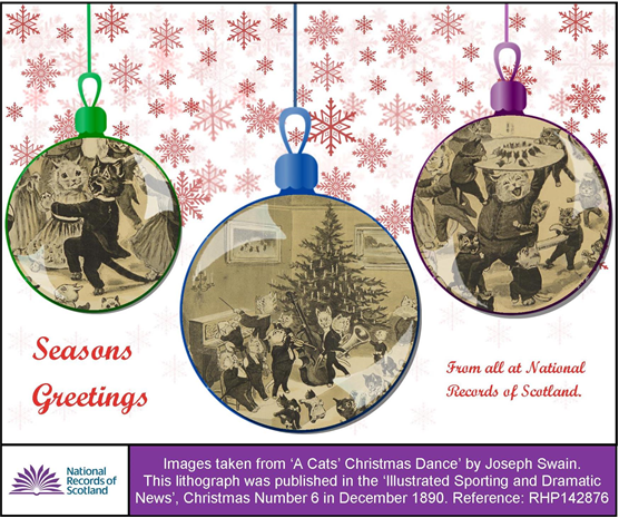 NRS' Christmas Card - cavorting cats