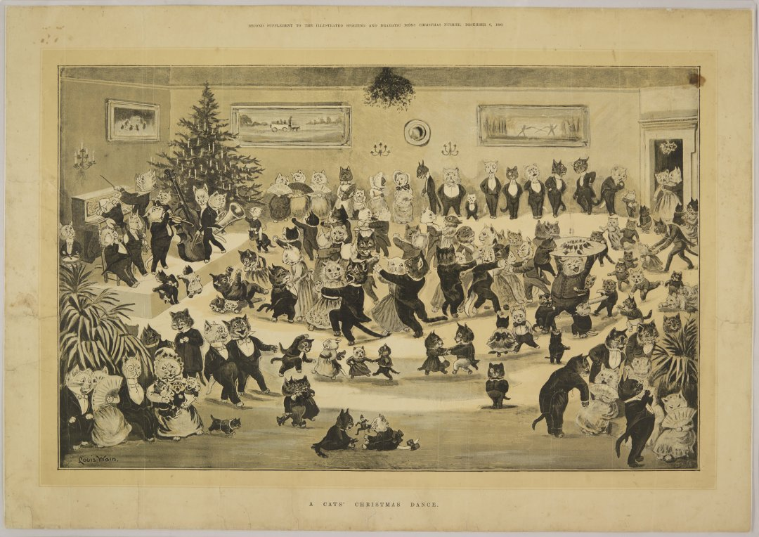 Christmsa print from our archives showing cats at a dance