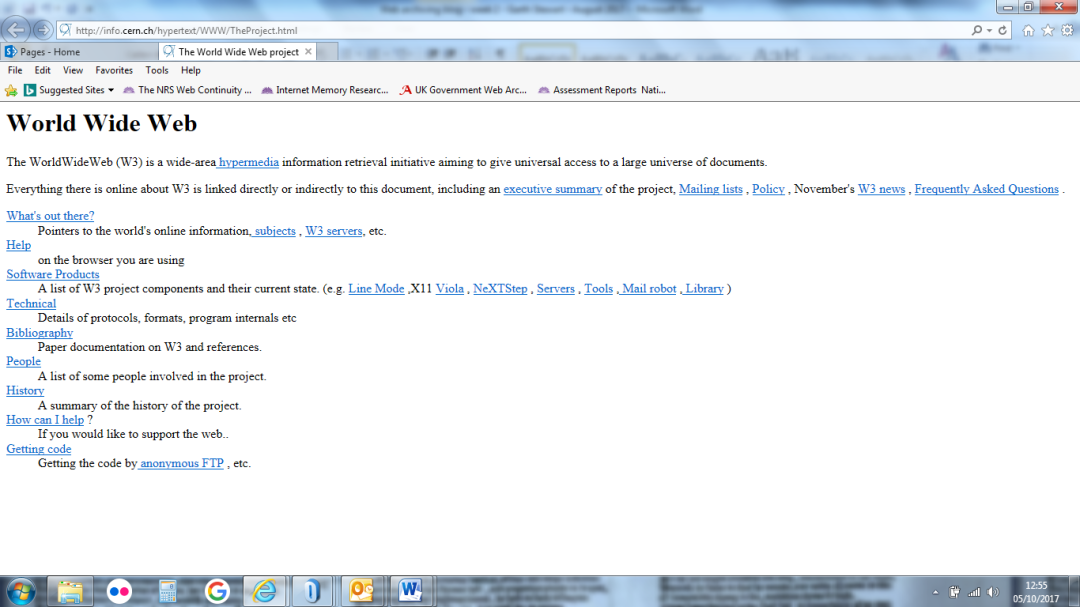 View of the first website, available at http://info.cern.ch/hypertext/WWW/TheProject.html