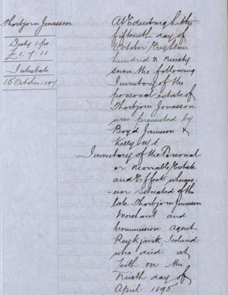 Inventory of Reykjavik merchant Thiorbjorn Jonasson, 1895