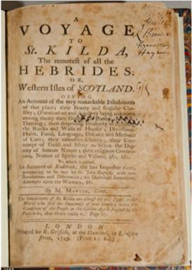 Voyage to St Kilda, Martin Martin, 1697