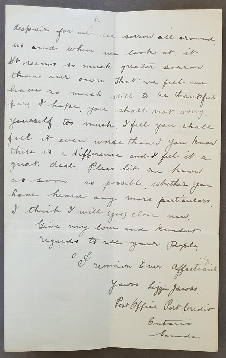 George Davidson Final page of Lizzie's letter with her signature compressed