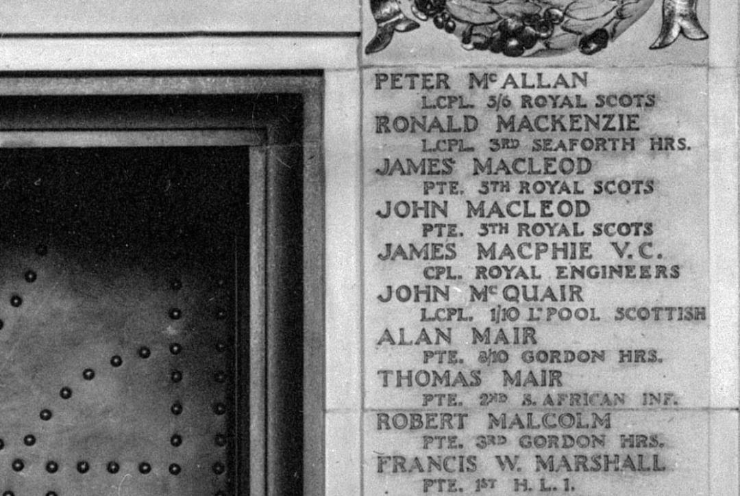 James McPhie memorial panel