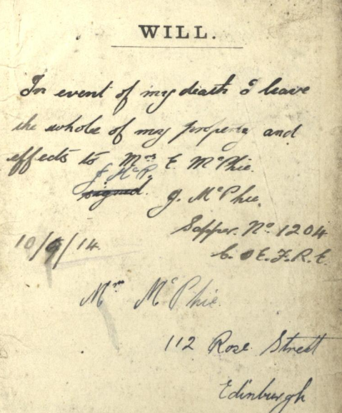 Will of Corporal James McPhie, Soldiers and Airmen's Wills, Ref: SC70/8/981/28