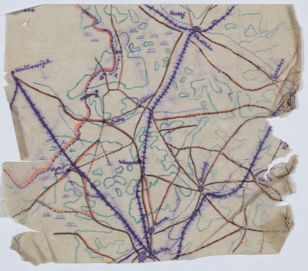 POW 1489 Map of Dutch-German border for planned escape by Campbell, circa 1916-18 compressed