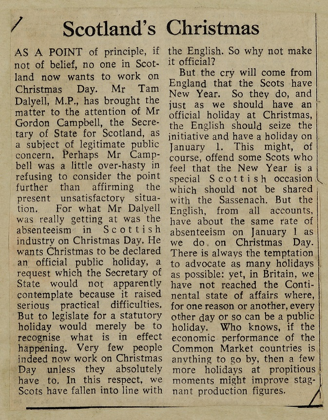 'Scotland's Christmas', Glasgow Herald, 22 July 1970