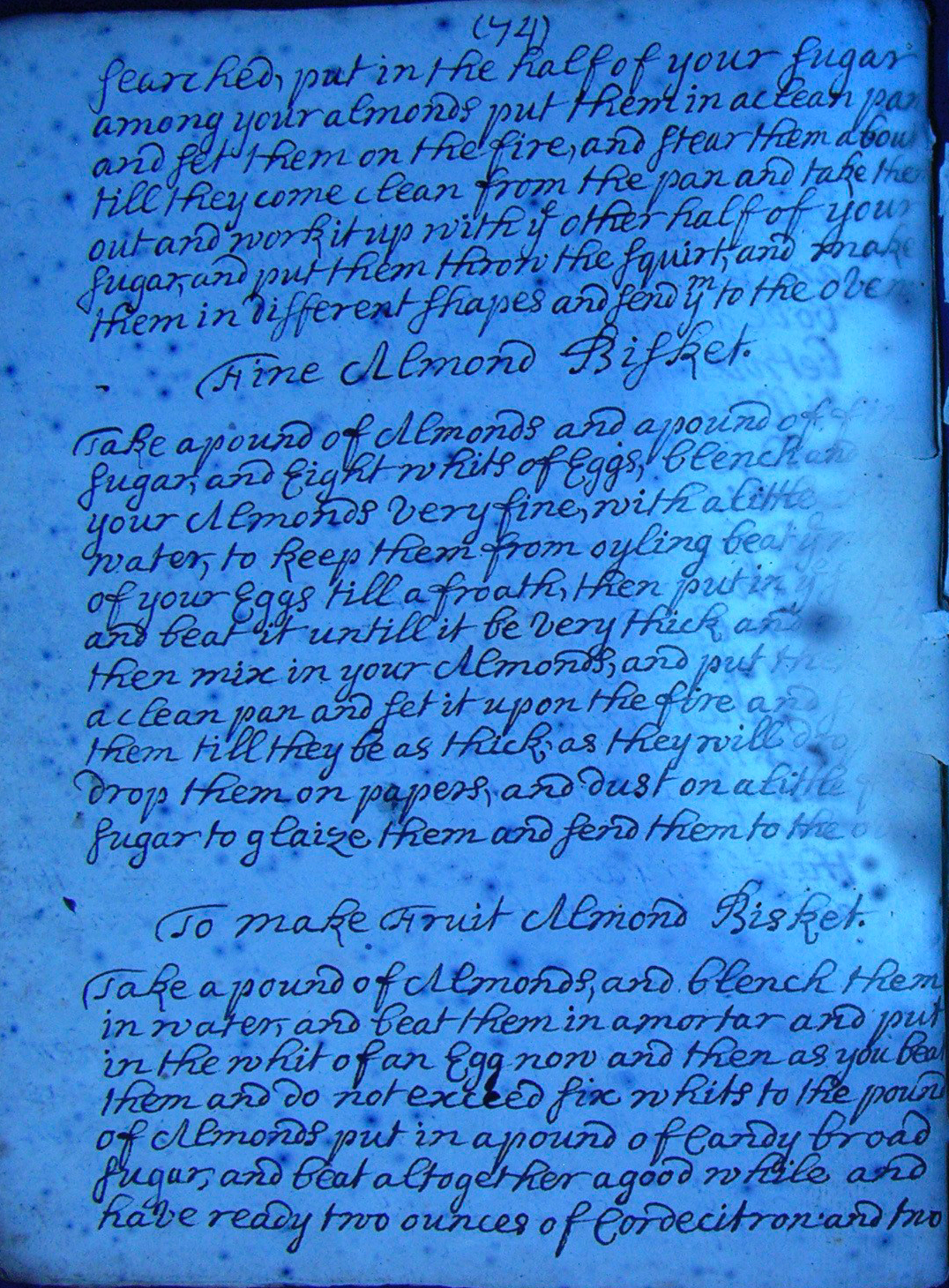 18th century recipe book from the Papers of the Lindsay Family of Dowhill. When this item came to National Records of Scotland it showed severe damage caused by a large stain in the middle of the book. It has since been conserved and photographed with UV light to help reveal some of the damaged text. Read more about how it was repaired in 'A Lovely Gift'. (National Records of Scotland, GD254/781)