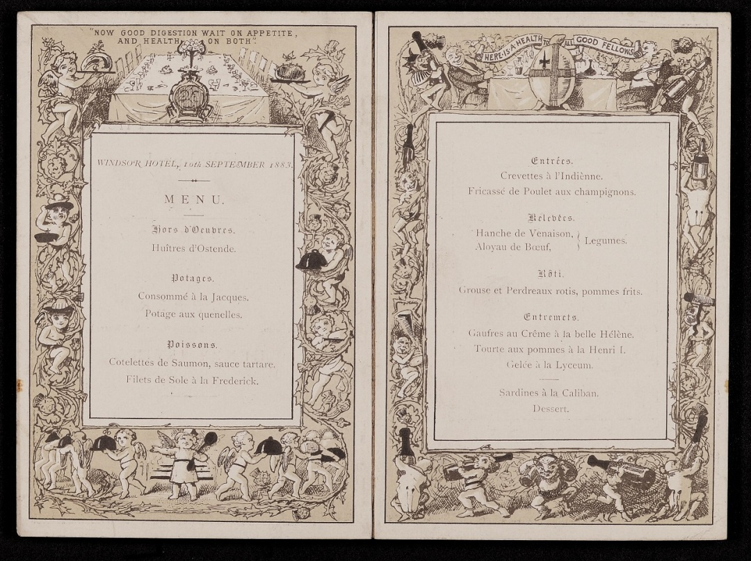A menu card for a supper hosted in commemoration of the opening of the Royal Lyceum Theatre, Edinburgh, 10 September 1883 (National Records of Scotland, GD1/585/27).
