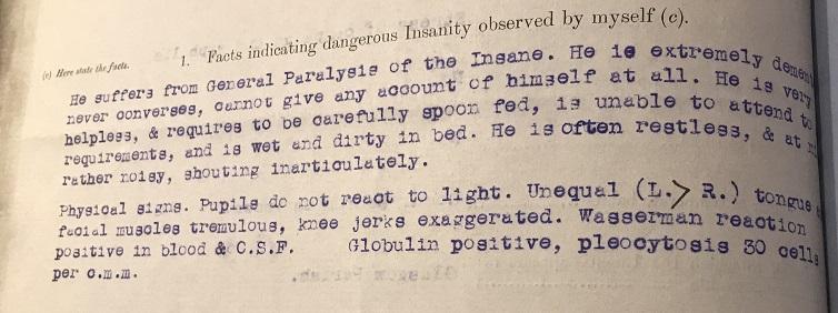 asylum general paralysis of the insane