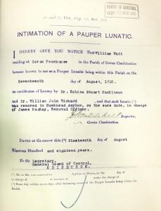 asylum intimation of a pauper lunatic