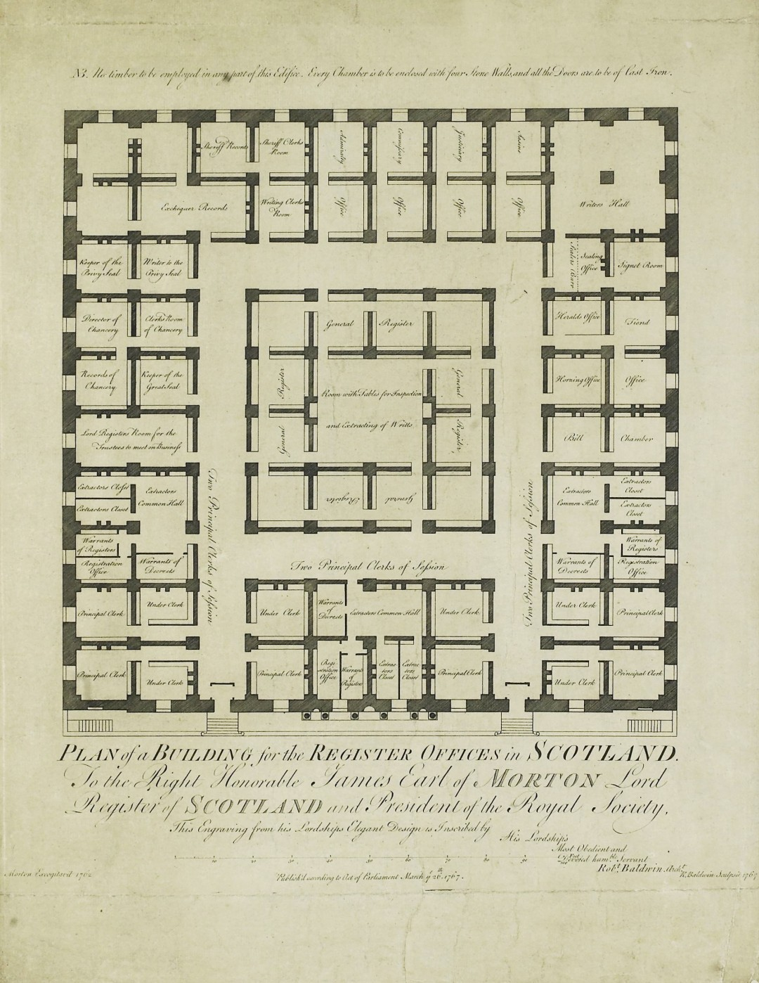 The Earl of Morton's design for General Register House. Ground floor plan, 27 March 1767 (NRS, RHP6082/2)
