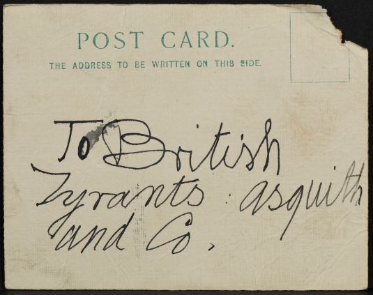 One of two postcards found at the scene of the attempted fire-raising in Glasgow and presented in evidence at Morrison and Smith's trial (NRS, JC26/1913/90)
