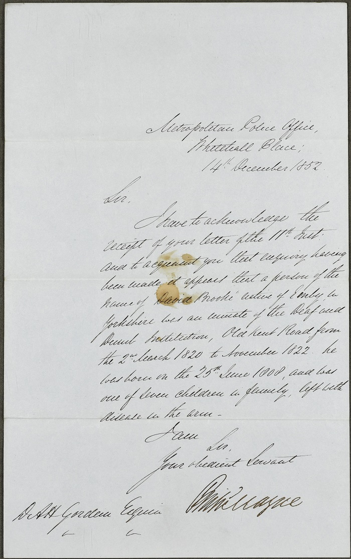 Letter from the Metropolitan Police Office confirming David Brook's attendance at the Old Kent Road Asylum, 14 December 1852, (NRS, AD14/53/218)