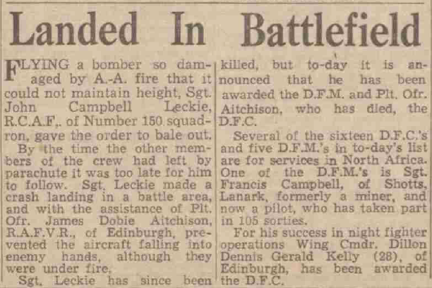 Newspaper clipping titled 'Landing in Battlefield'. ©D.C. Thomson & Co LTD. Image created courtesy of The British Library Board