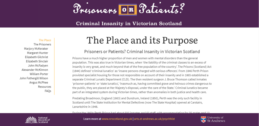 'Prisoners or Patients? Criminal Insanity in Victorian Scotland' exhibition site, front page. National Records of Scotland