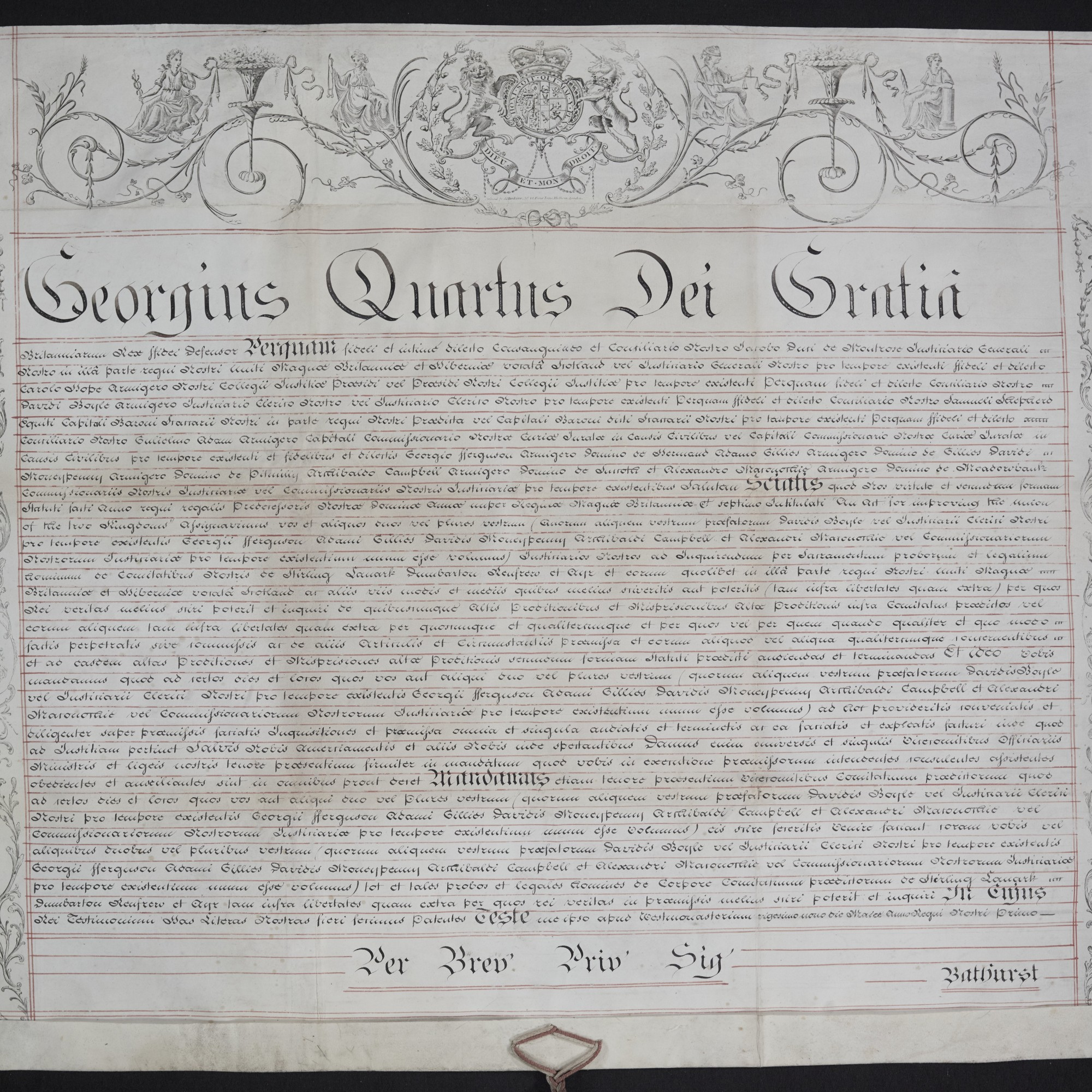 Treason Trials, Commission of Oyer and Terminer, the Latin text. National Records of Scotland, Crown copyright, JC21/1/1