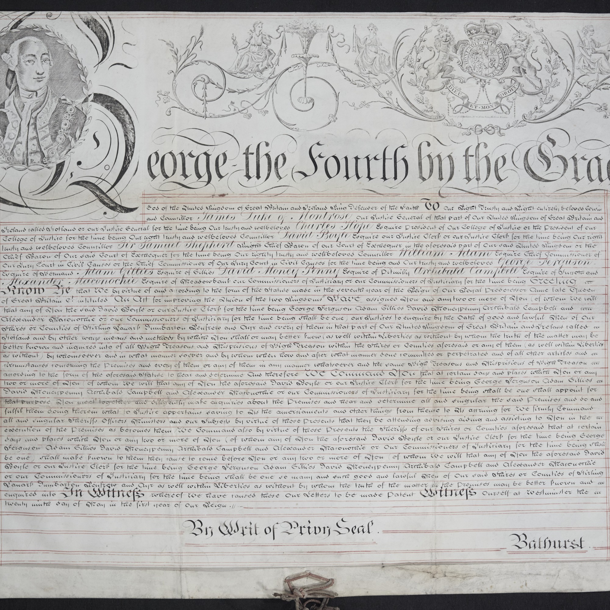 Treason Trials, Commission of Oyer and Terminer, the English text. National Records of Scotland, Crown copyright, JC21/1/2