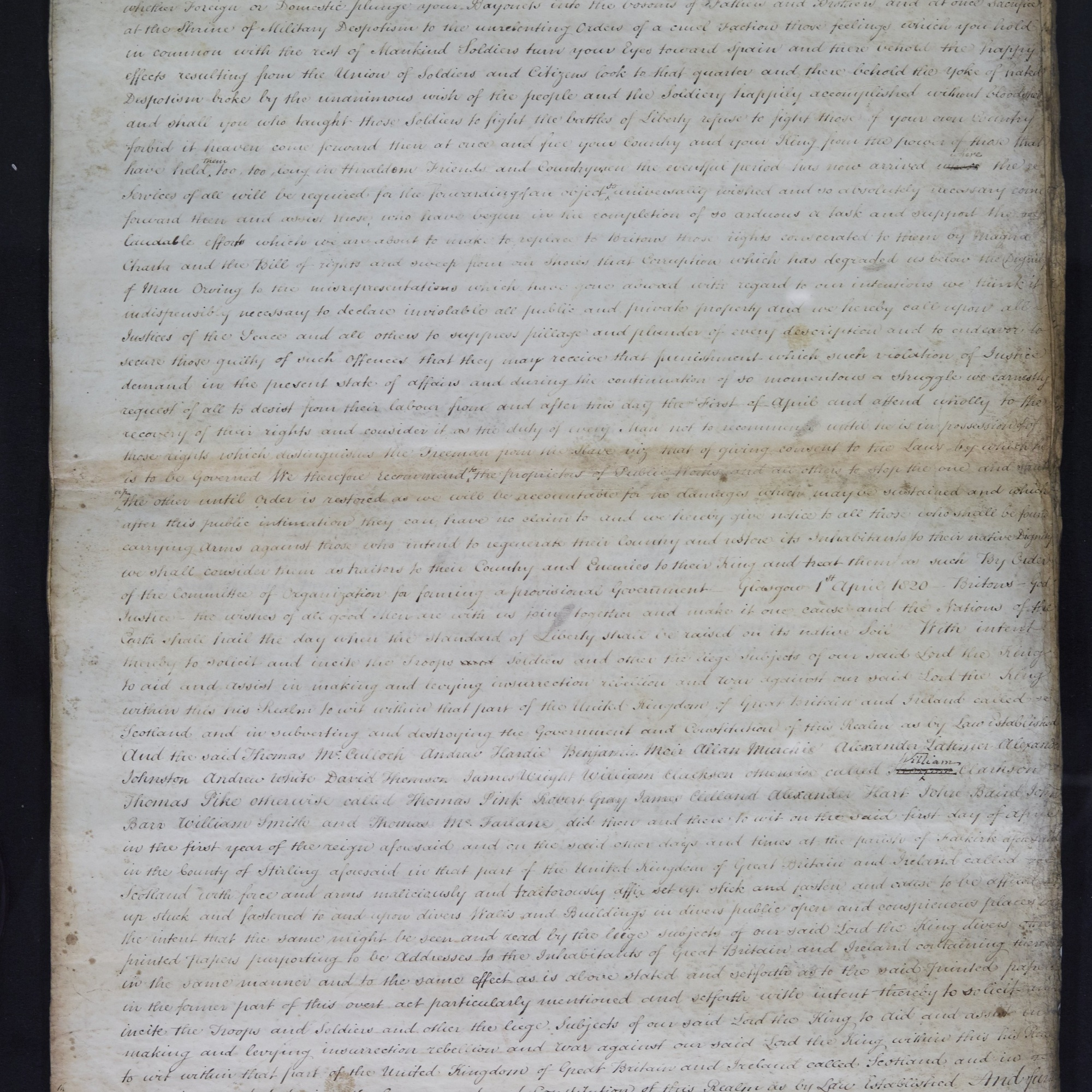 Treason trials for the County of Stirling, the Bonnymuir case. True bills brought against 18 men. National Records of Scotland, Crown copyright, JC21/2/1 p2