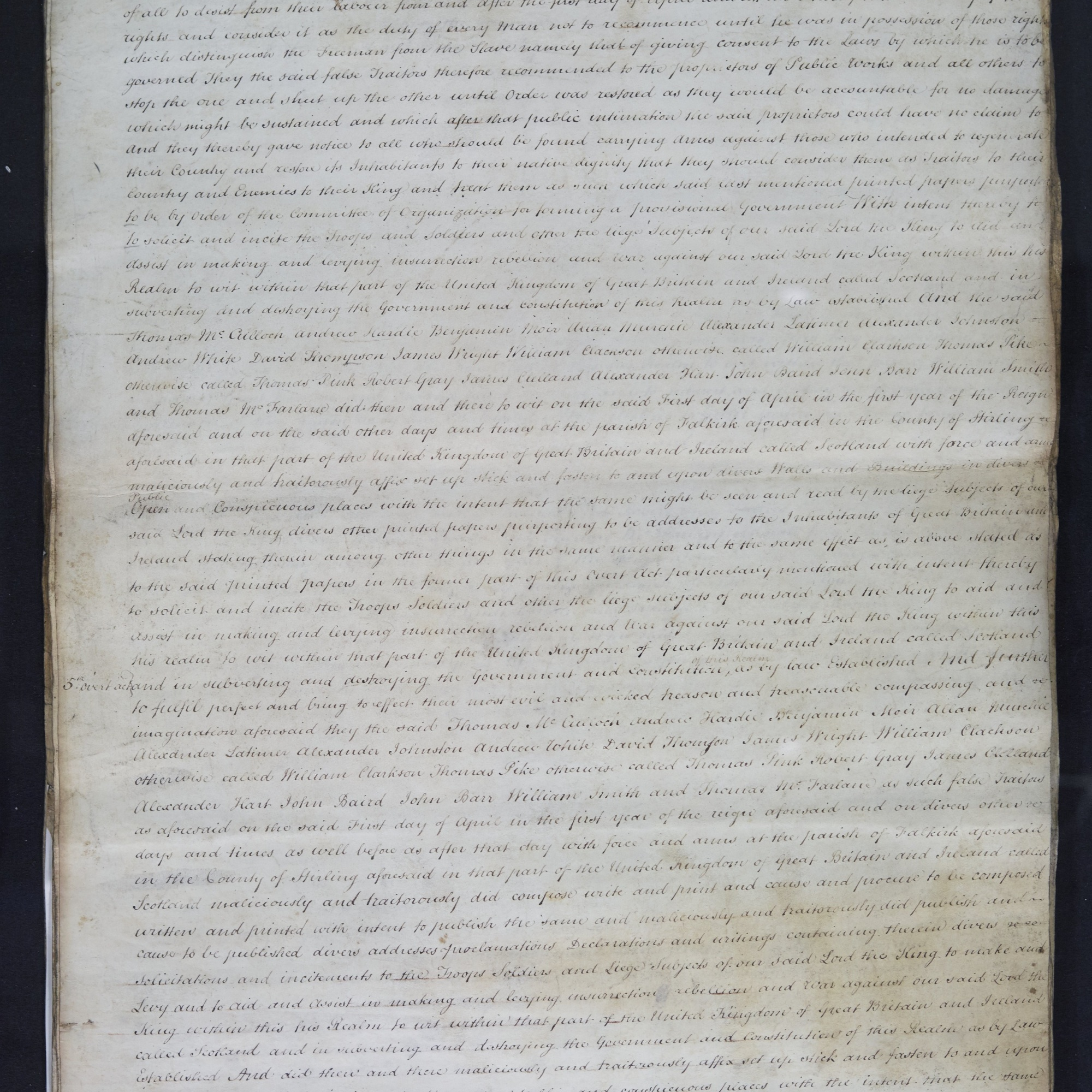 Treason trials for the County of Stirling, the Bonnymuir case. True bills brought against 18 men. National Records of Scotland, Crown copyright, JC21/2/1 p3