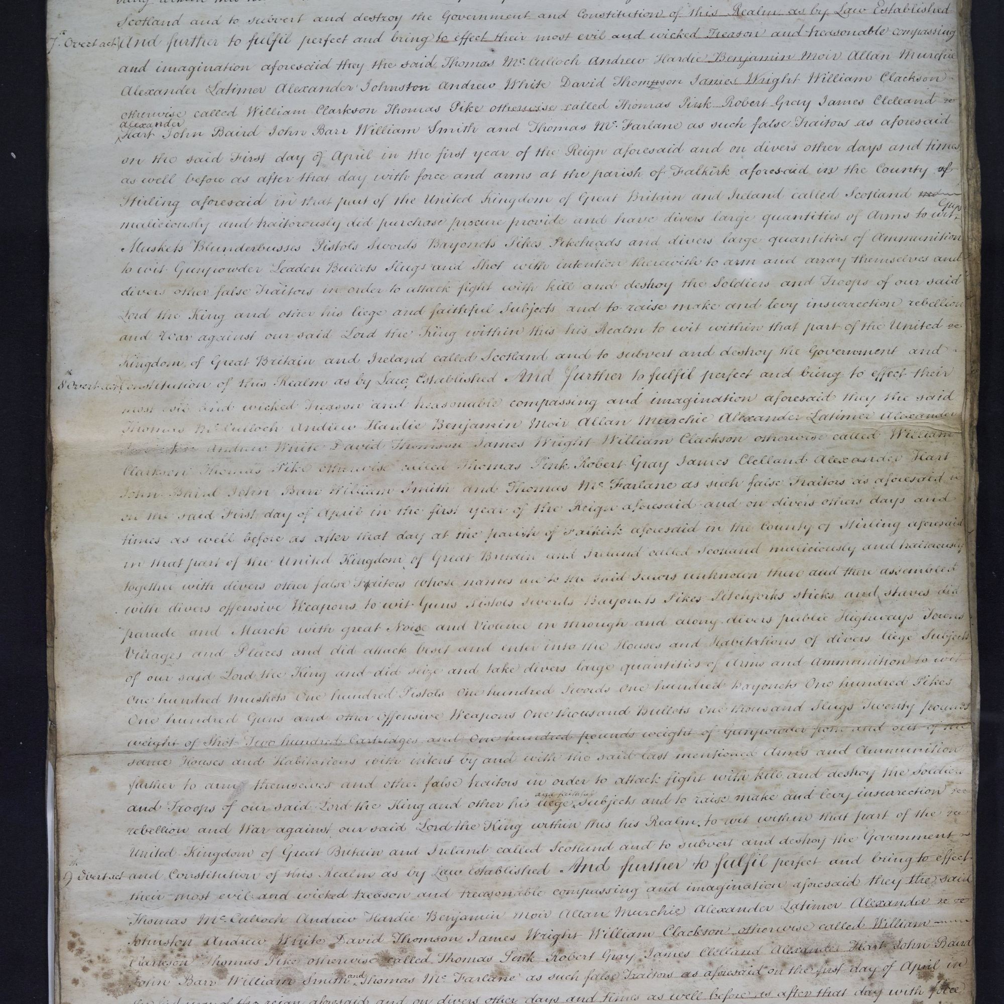 Treason trials for the County of Stirling, the Bonnymuir case. True bills brought against 18 men. National Records of Scotland, Crown copyright, JC21/2/1 p4