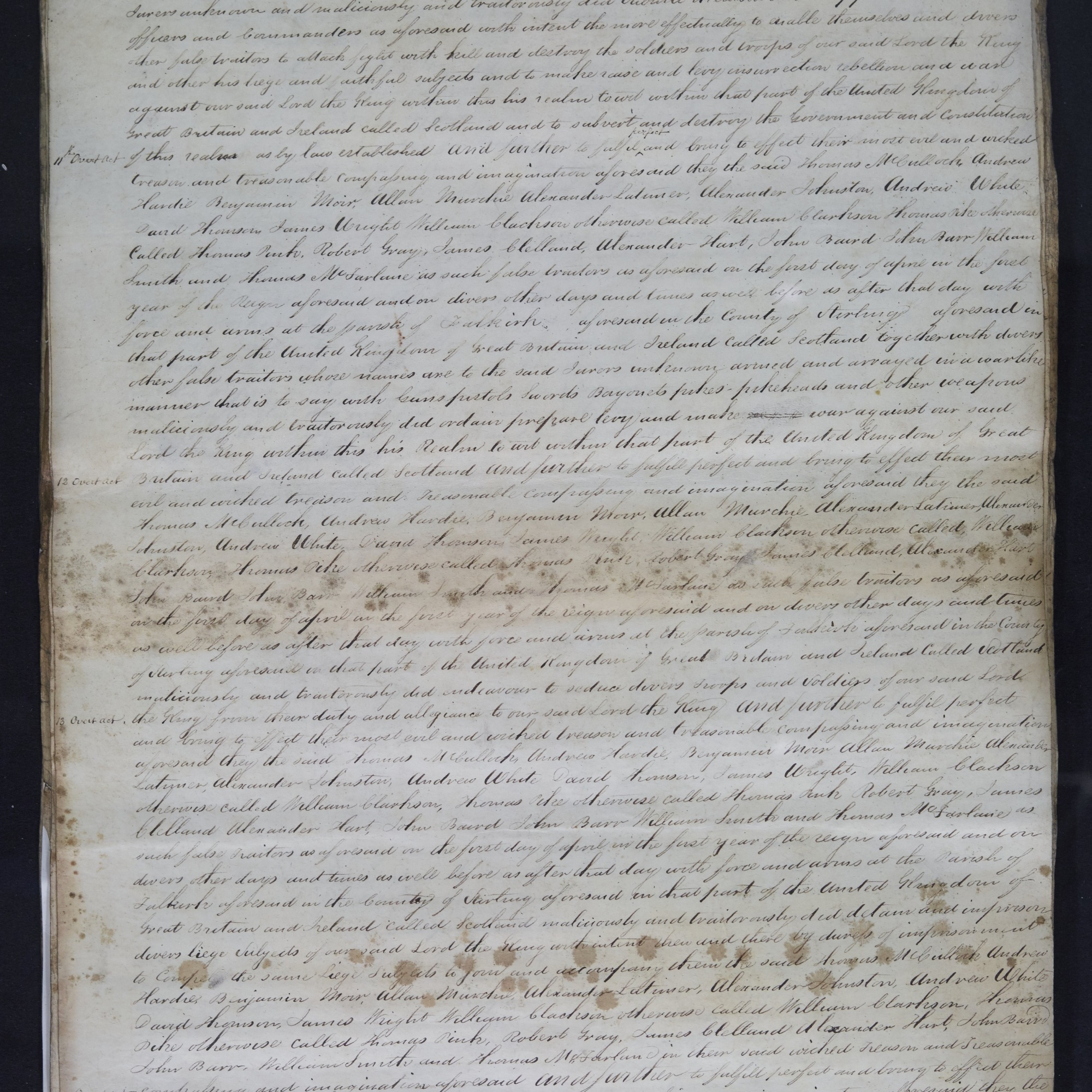 Treason trials for the County of Stirling, the Bonnymuir case. True bills brought against 18 men. National Records of Scotland, Crown copyright, JC21/2/1 p5