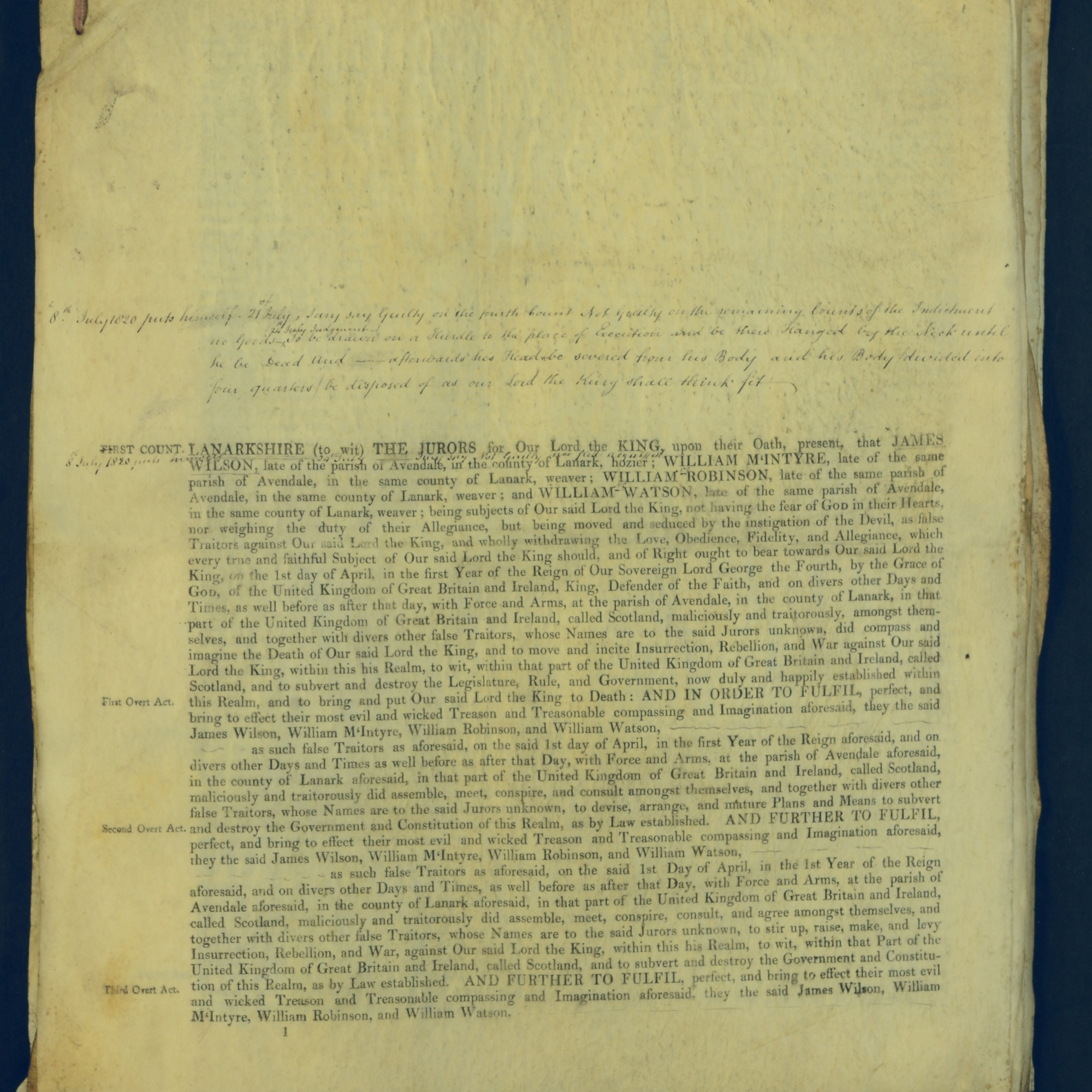 Treason Trials for the County of Lanark, the Strathaven Case. True bills found against four men, James Wilson, William McIntyre, William Robinson and William Watson. National Records of Scotland, Crown copyright, JC21/3/4 p1