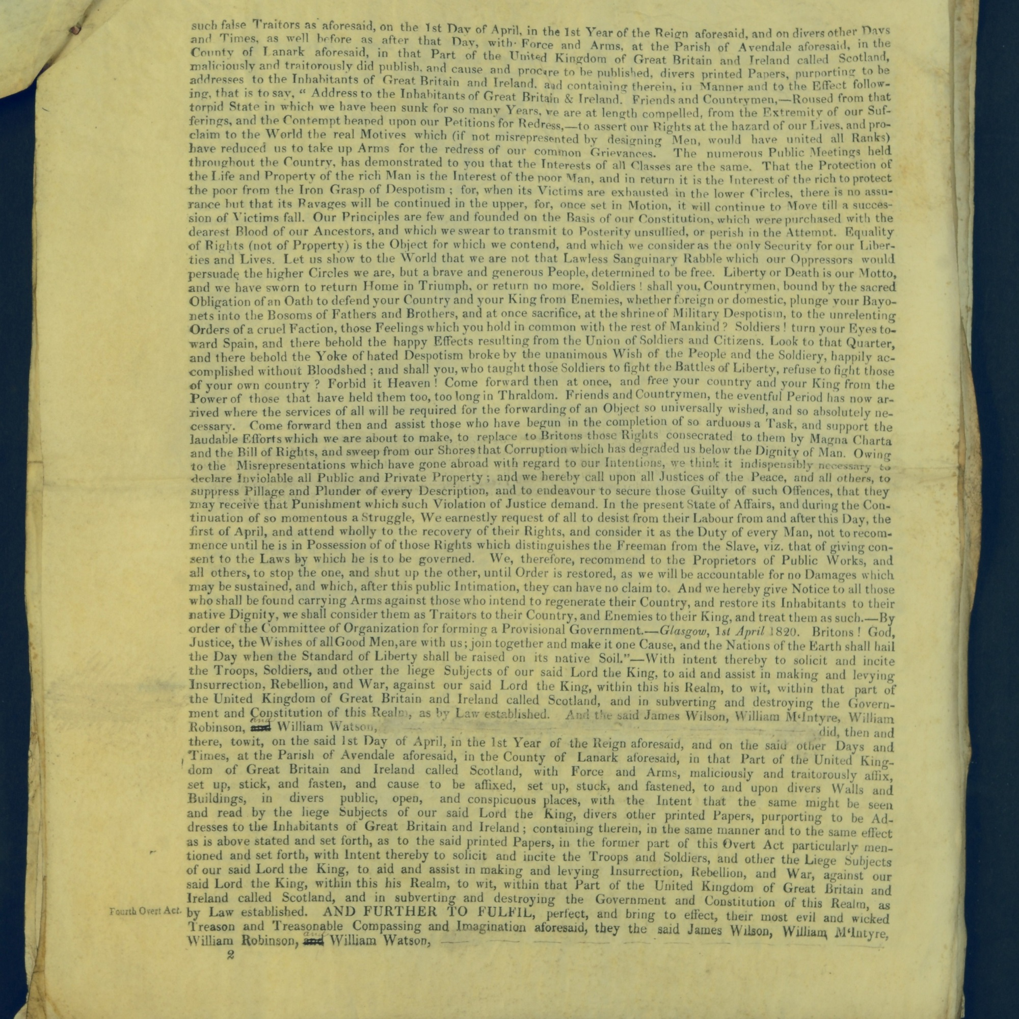 Treason Trials for the County of Lanark, the Strathaven Case. True bills found against four men, James Wilson, William McIntyre, William Robinson and William Watson. National Records of Scotland, Crown copyright, JC21/3/4 p2