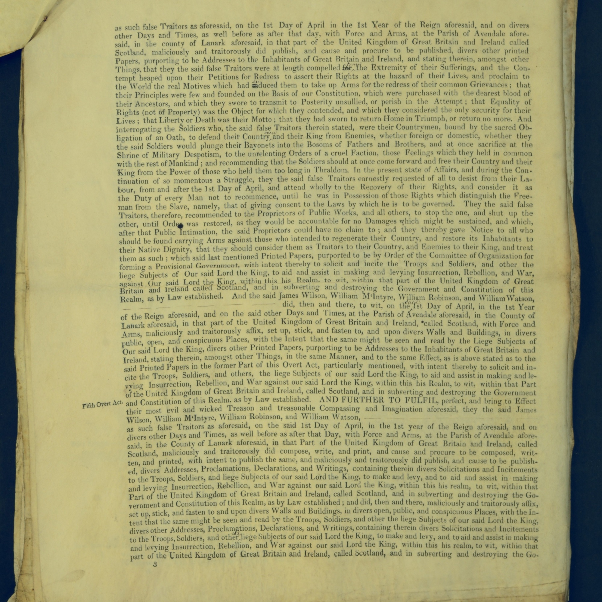 Treason Trials for the County of Lanark, the Strathaven Case. True bills found against four men, James Wilson, William McIntyre, William Robinson and William Watson. National Records of Scotland, Crown copyright, JC21/3/4 p3