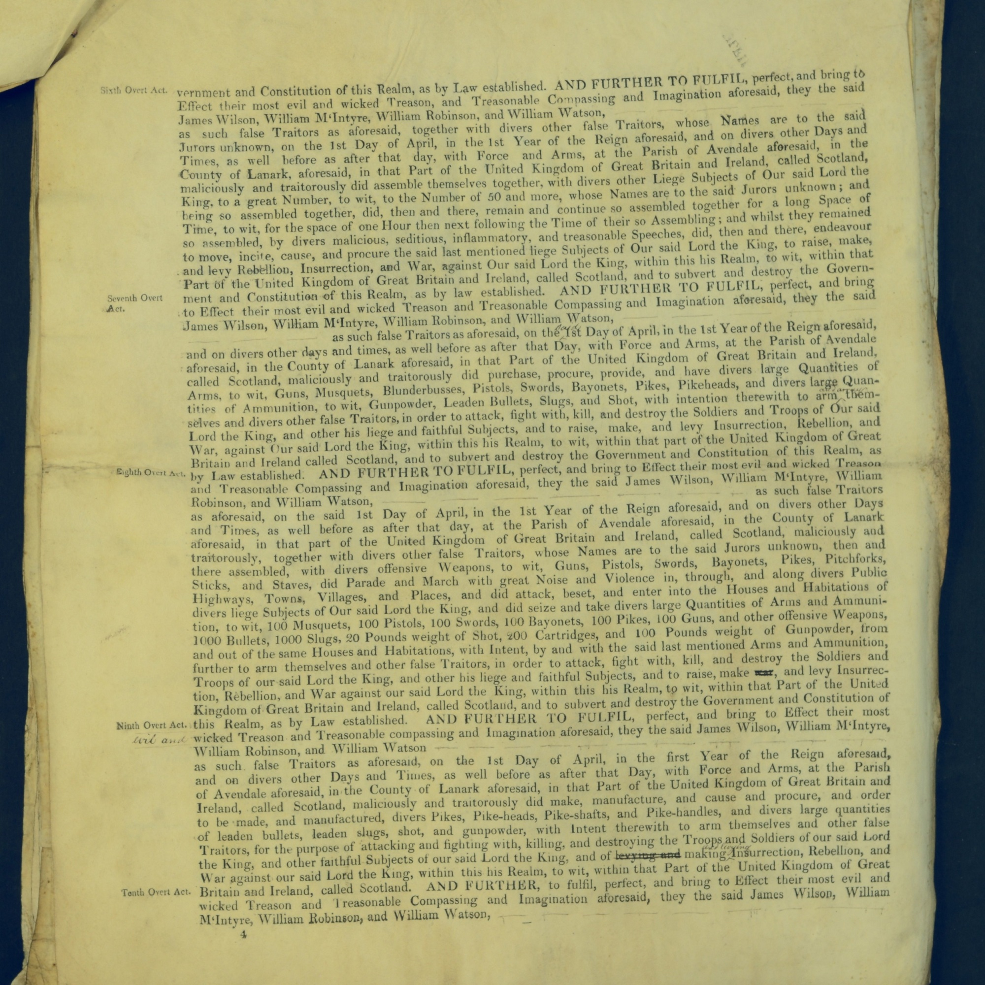 Treason Trials for the County of Lanark, the Strathaven Case. True bills found against four men, James Wilson, William McIntyre, William Robinson and William Watson. National Records of Scotland, Crown copyright, JC21/3/4 p4