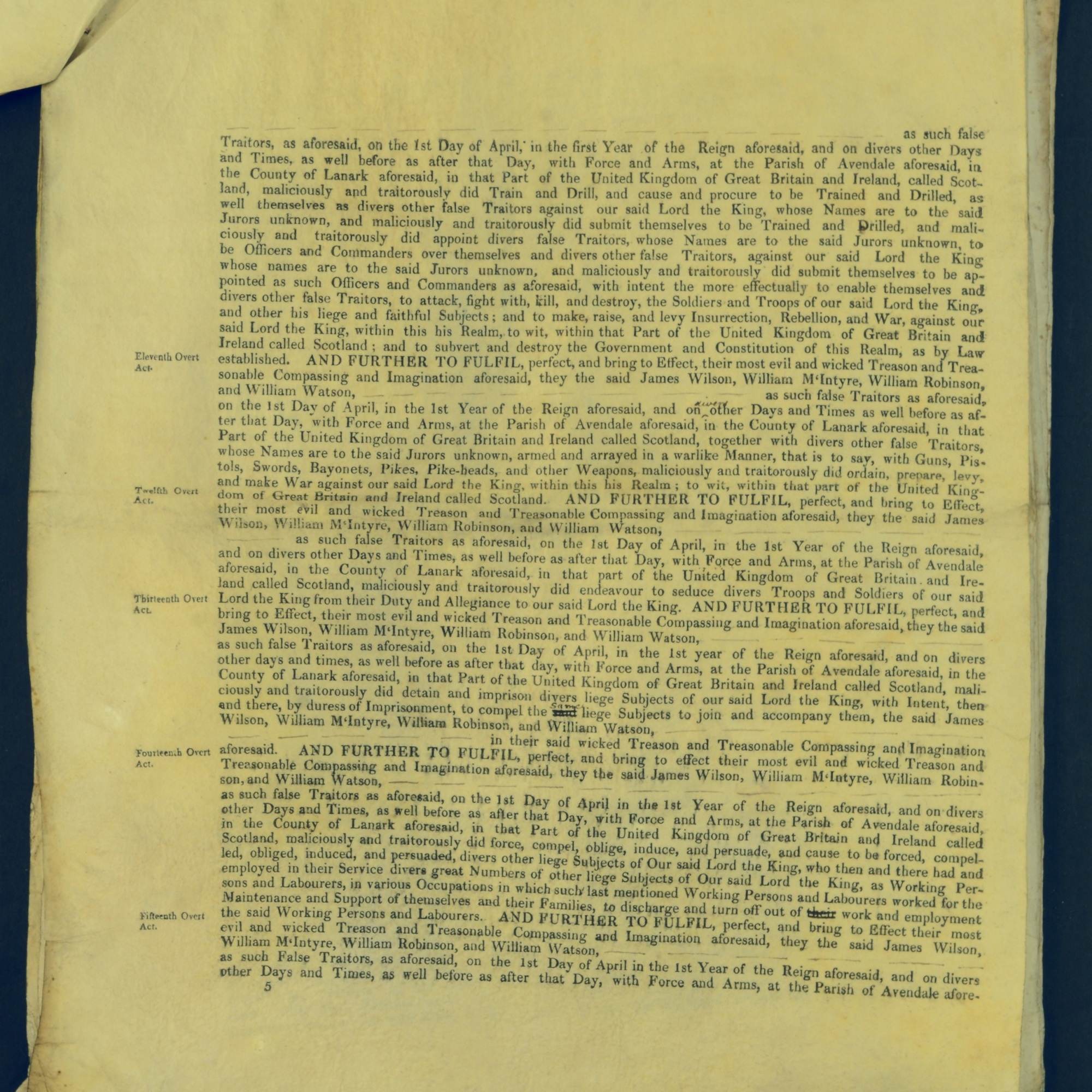 Treason Trials for the County of Lanark, the Strathaven Case. True bills found against four men, James Wilson, William McIntyre, William Robinson and William Watson. National Records of Scotland, Crown copyright, JC21/3/4 p5