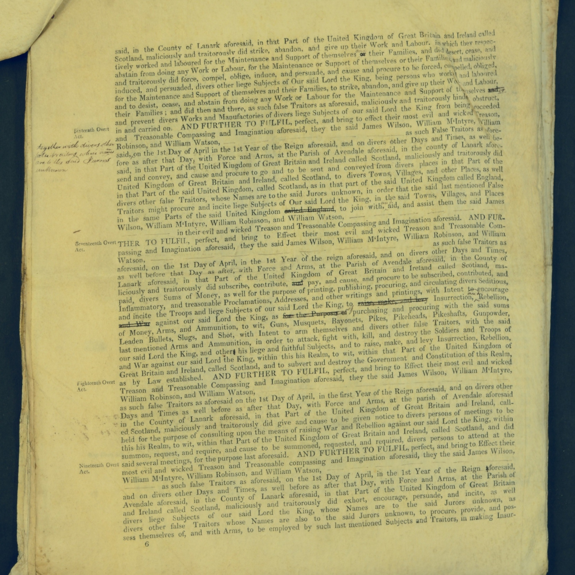Treason Trials for the County of Lanark, the Strathaven Case. True bills found against four men, James Wilson, William McIntyre, William Robinson and William Watson. National Records of Scotland, Crown copyright, JC21/3/4 p6