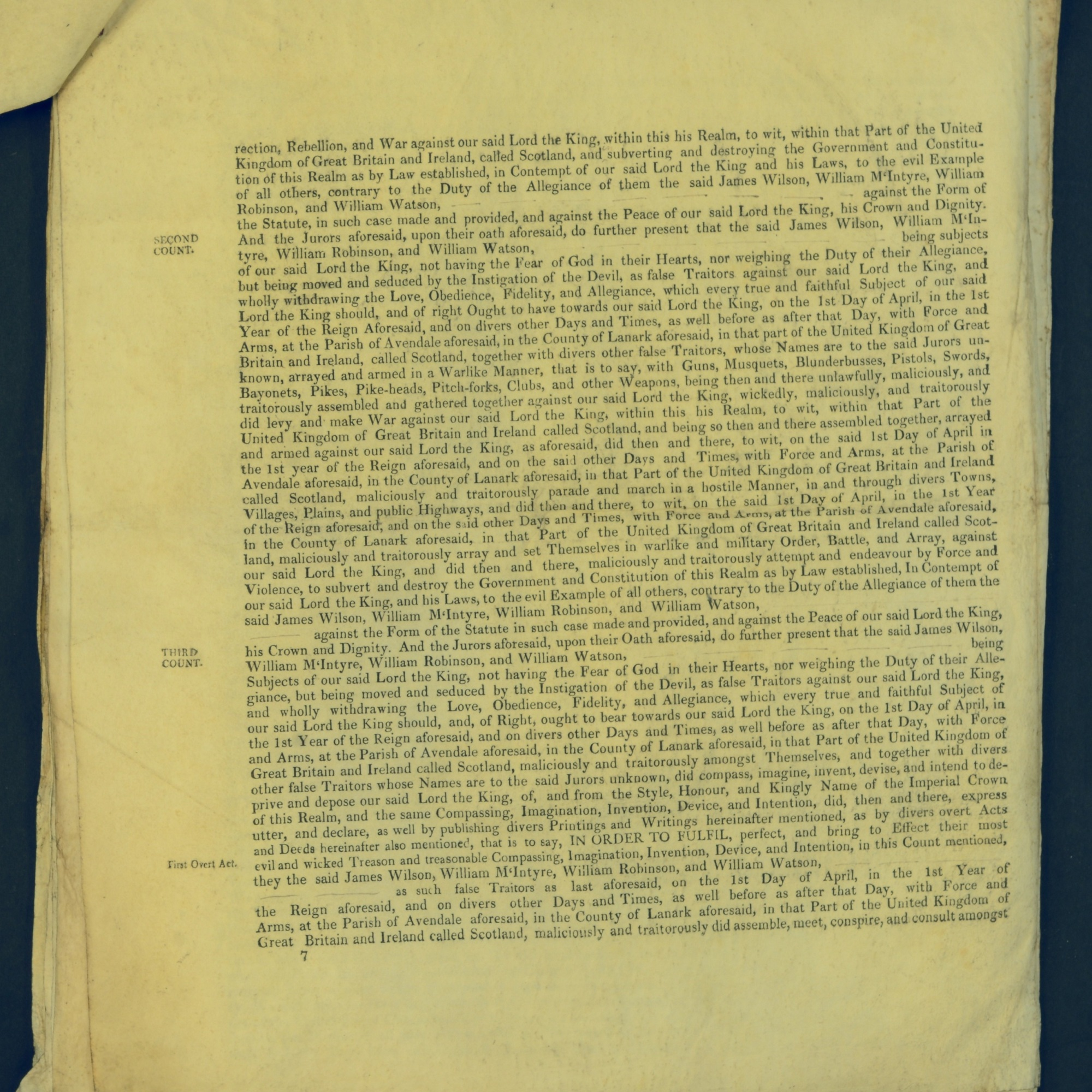 Treason Trials for the County of Lanark, the Strathaven Case. True bills found against four men, James Wilson, William McIntyre, William Robinson and William Watson. National Records of Scotland, Crown copyright, JC21/3/4 p7