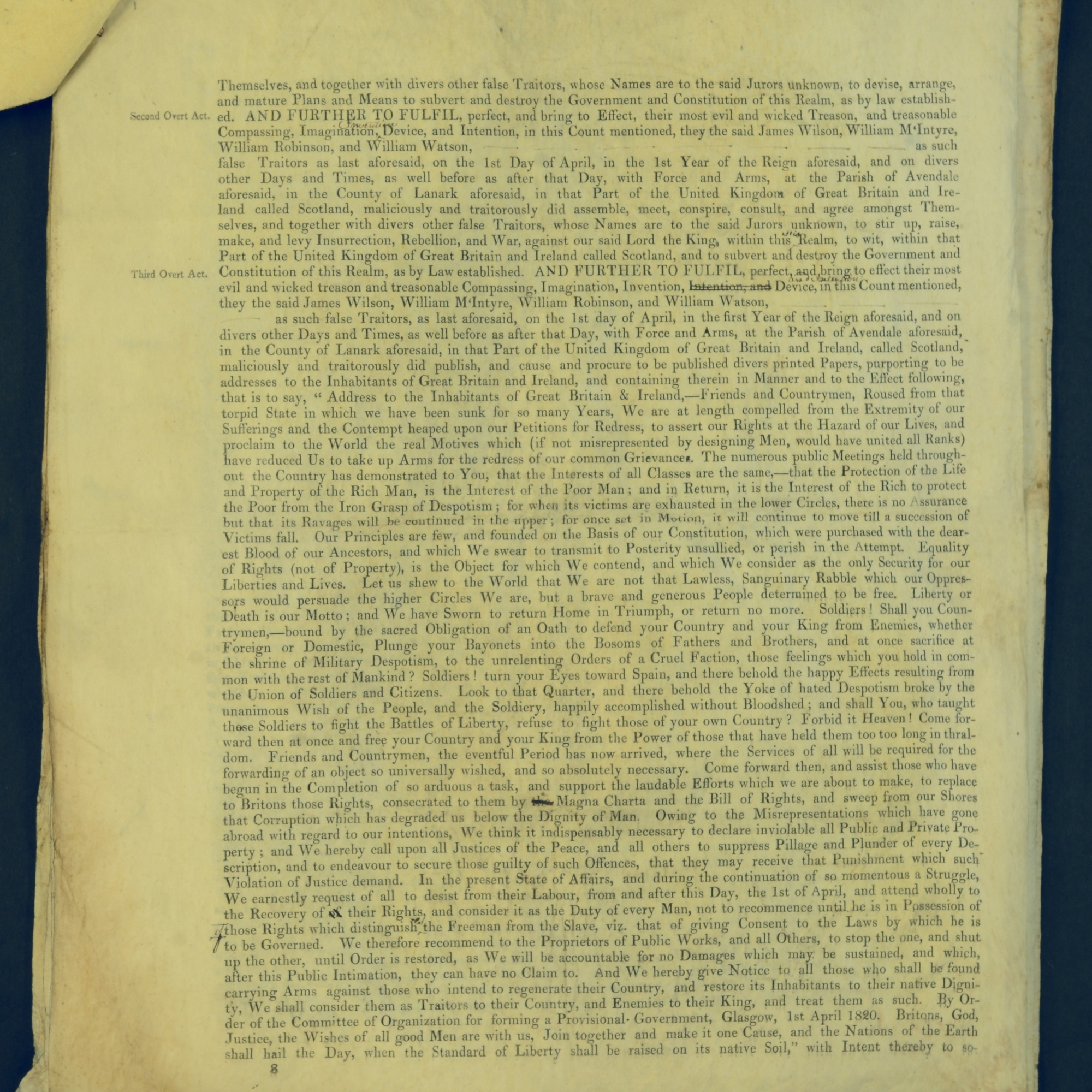 Treason Trials for the County of Lanark, the Strathaven Case. True bills found against four men, James Wilson, William McIntyre, William Robinson and William Watson. National Records of Scotland, Crown copyright, JC21/3/4 p8