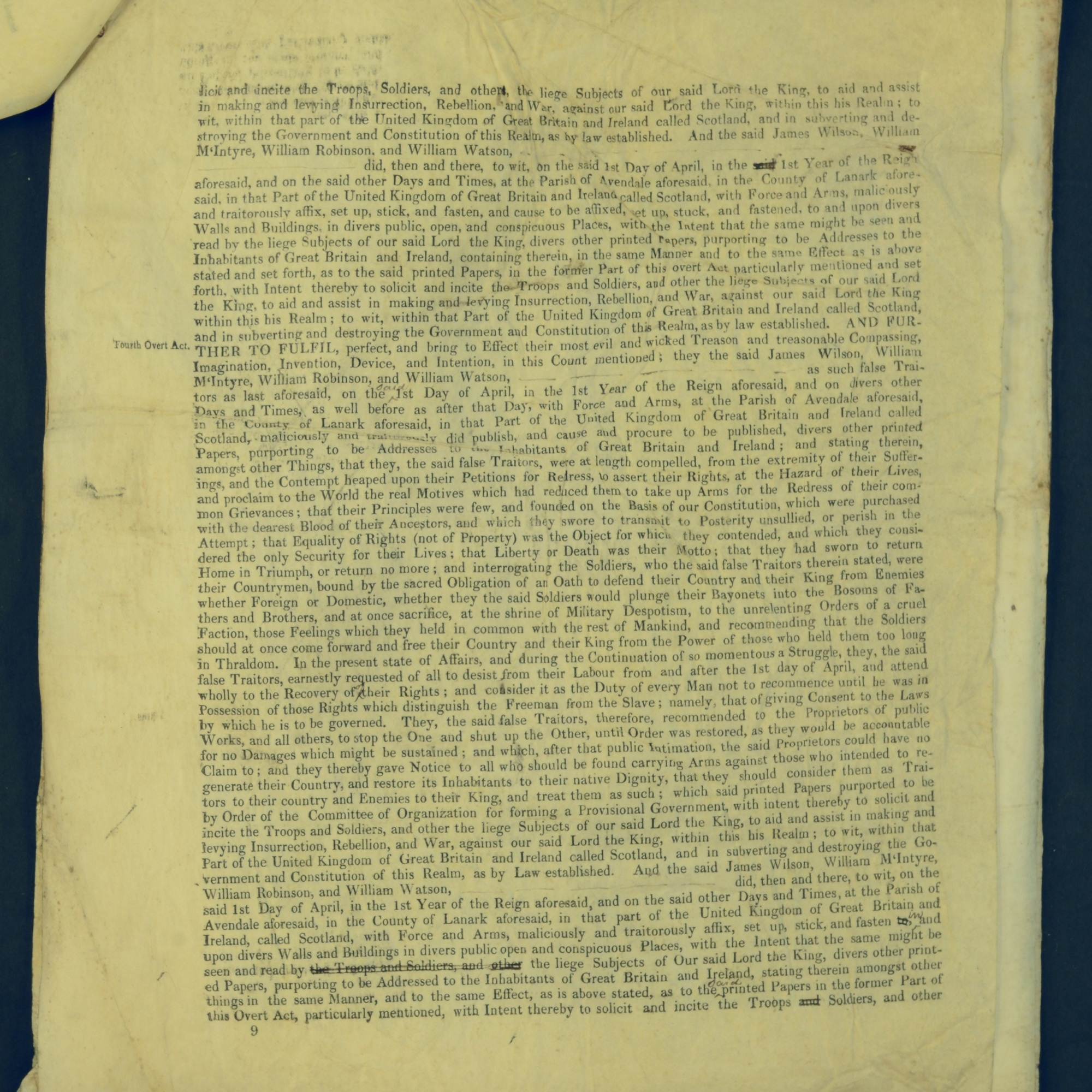 Treason Trials for the County of Lanark, the Strathaven Case. True bills found against four men, James Wilson, William McIntyre, William Robinson and William Watson. National Records of Scotland, Crown copyright, JC21/3/4 p9