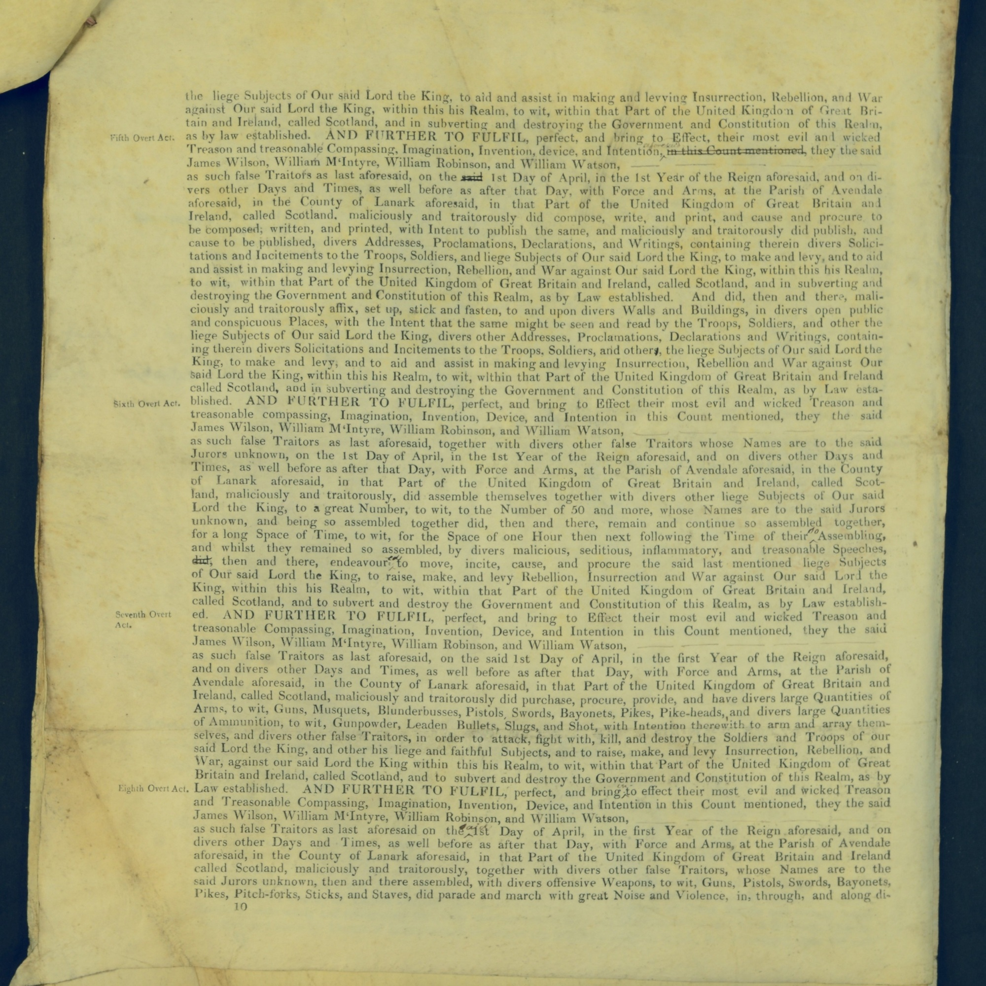 Treason Trials for the County of Lanark, the Strathaven Case. True bills found against four men, James Wilson, William McIntyre, William Robinson and William Watson. National Records of Scotland, Crown copyright, JC21/3/4 p10
