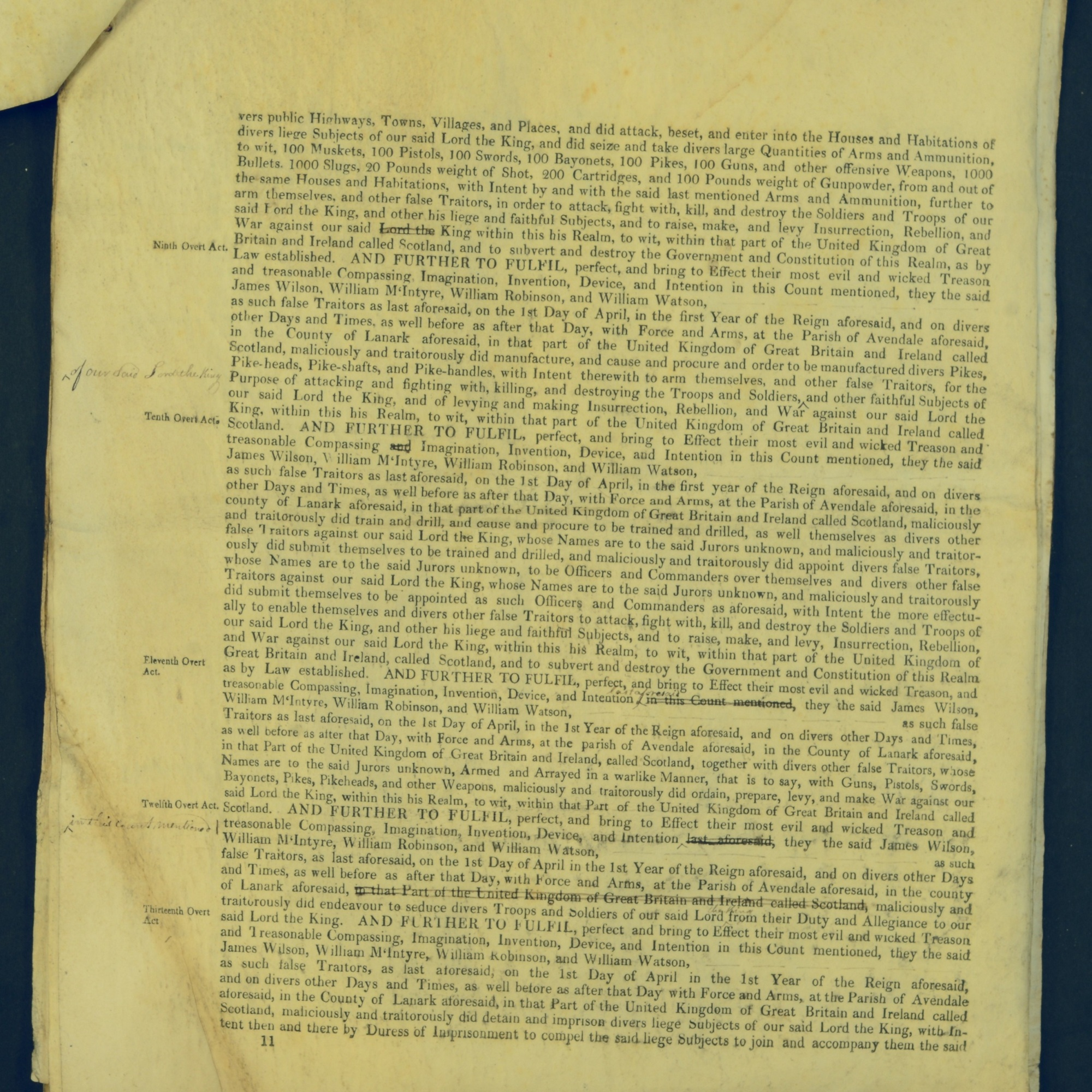Treason Trials for the County of Lanark, the Strathaven Case. True bills found against four men, James Wilson, William McIntyre, William Robinson and William Watson. National Records of Scotland, Crown copyright, JC21/3/4 p11