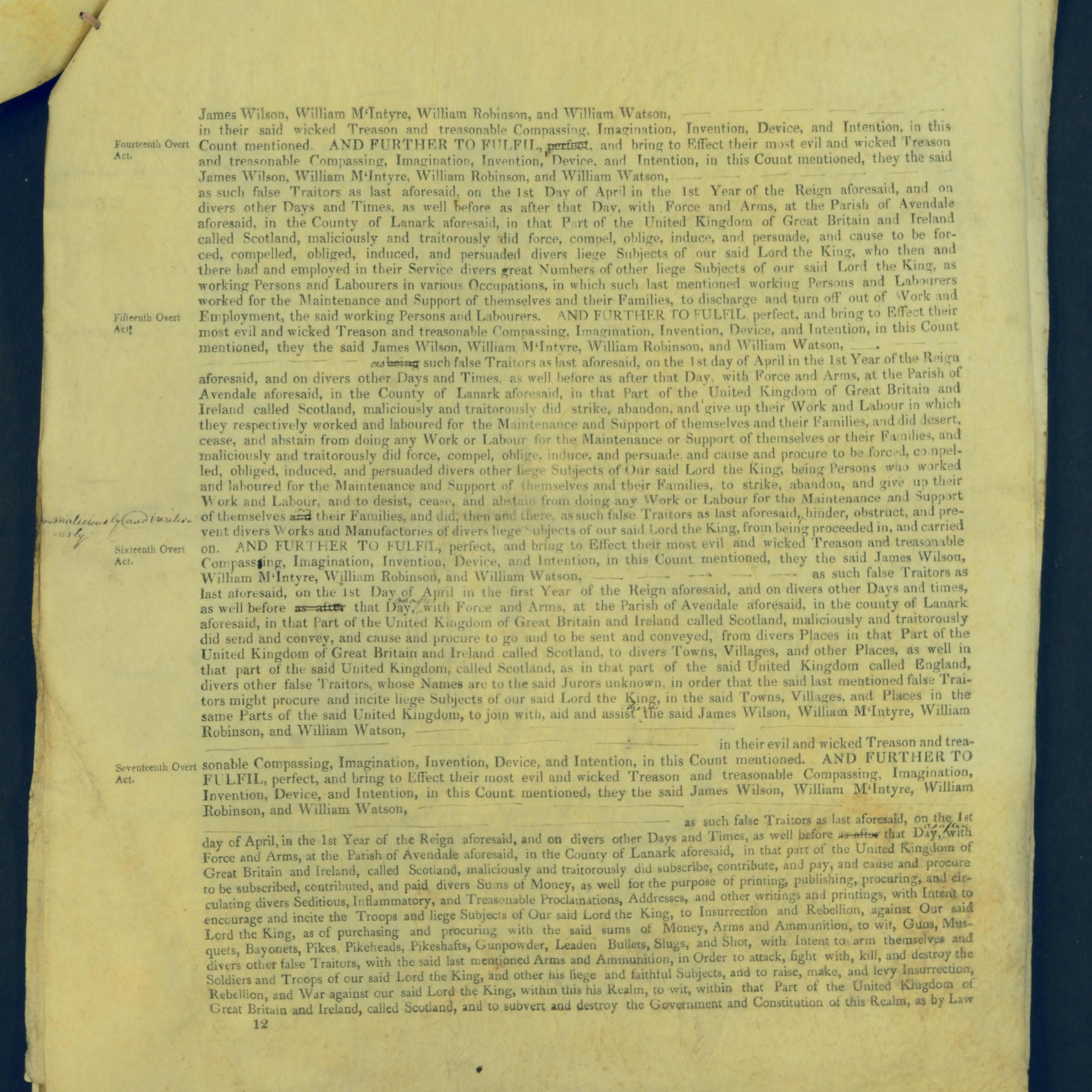 Treason Trials for the County of Lanark, the Strathaven Case. True bills found against four men, James Wilson, William McIntyre, William Robinson and William Watson. National Records of Scotland, Crown copyright, JC21/3/4 p12