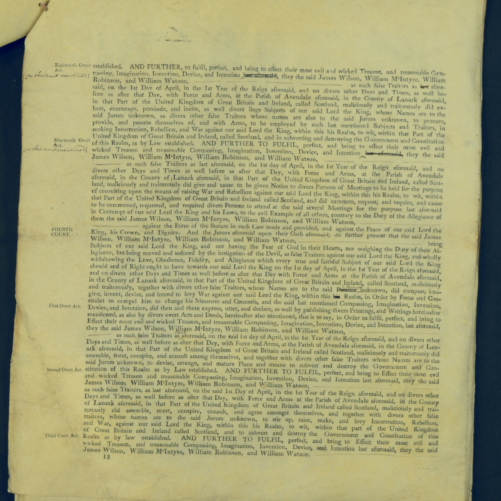 Treason Trials for the County of Lanark, the Strathaven Case. True bills found against four men, James Wilson, William McIntyre, William Robinson and William Watson. National Records of Scotland, Crown copyright, JC21/3/4 p13