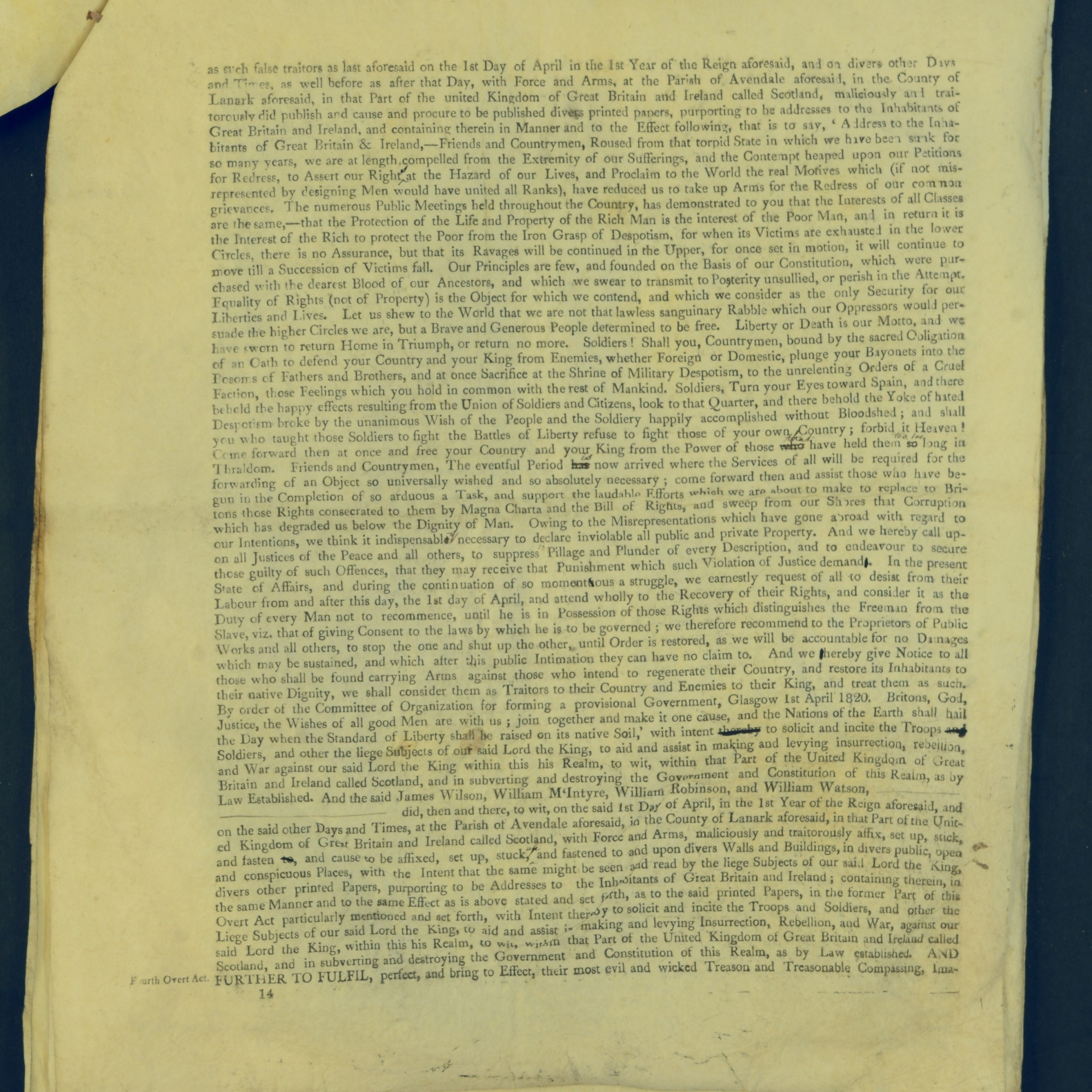 Treason Trials for the County of Lanark, the Strathaven Case. True bills found against four men, James Wilson, William McIntyre, William Robinson and William Watson. National Records of Scotland, Crown copyright, JC21/3/4 p14