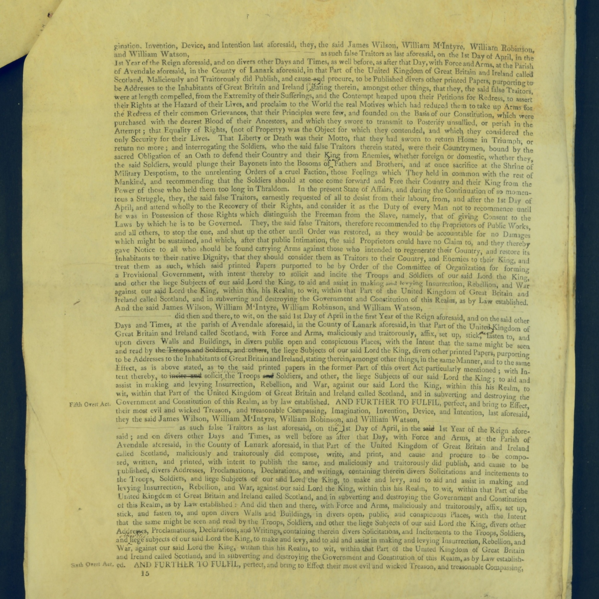 Treason Trials for the County of Lanark, the Strathaven Case. True bills found against four men, James Wilson, William McIntyre, William Robinson and William Watson. National Records of Scotland, Crown copyright, JC21/3/4 p15