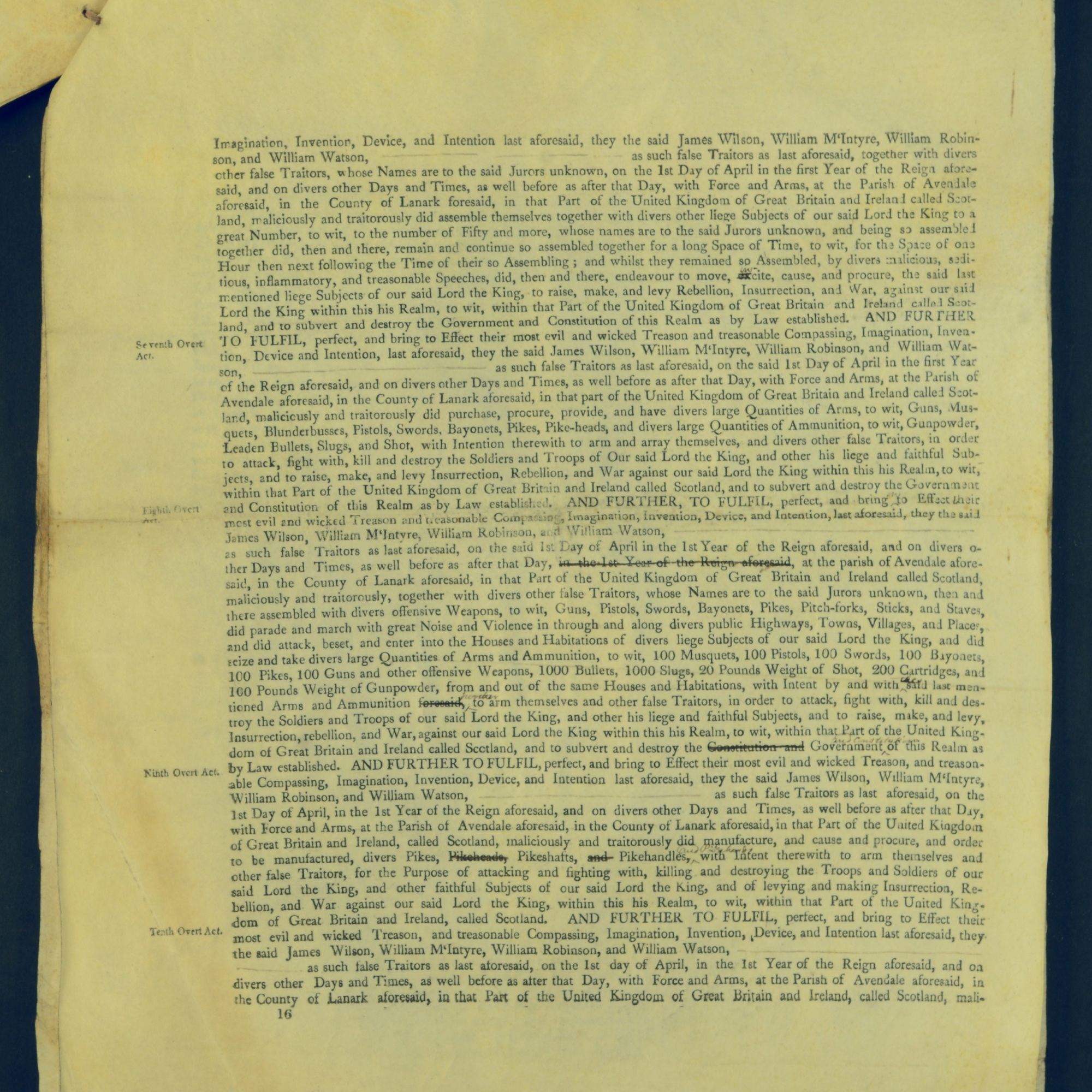 Treason Trials for the County of Lanark, the Strathaven Case. True bills found against four men, James Wilson, William McIntyre, William Robinson and William Watson. National Records of Scotland, Crown copyright, JC21/3/4 p16