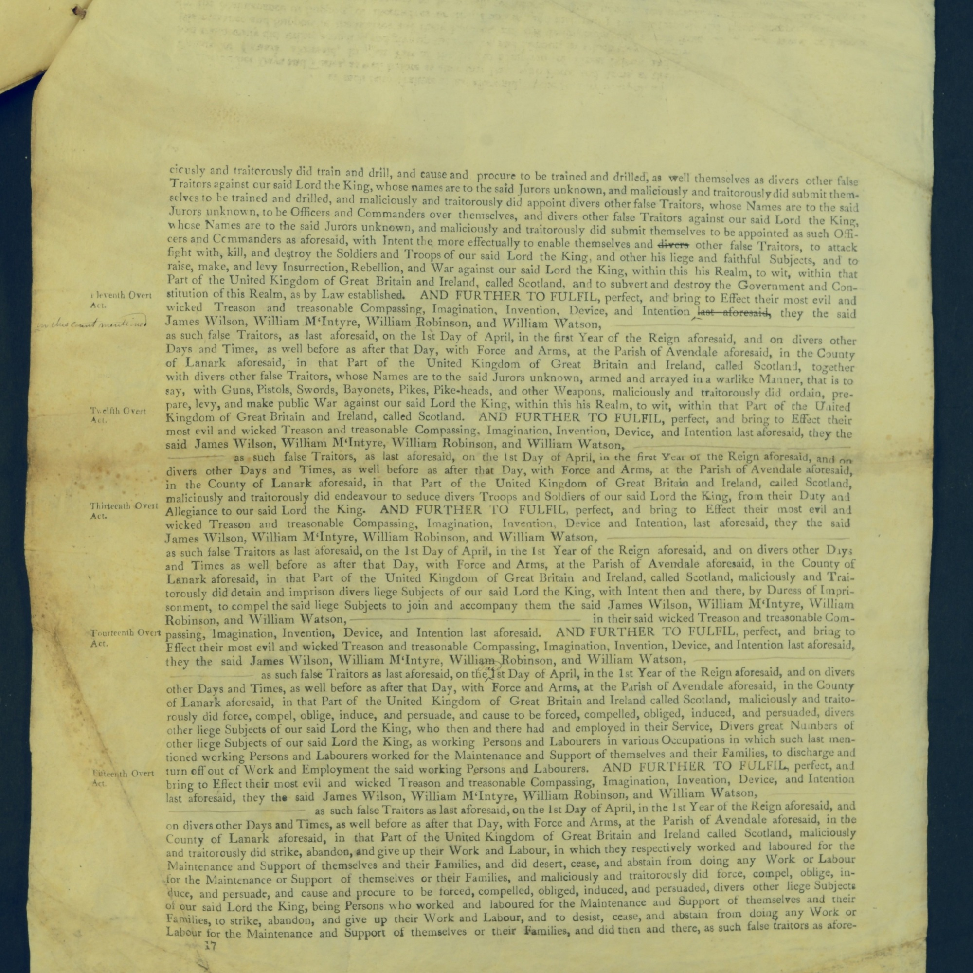 Treason Trials for the County of Lanark, the Strathaven Case. True bills found against four men, James Wilson, William McIntyre, William Robinson and William Watson. National Records of Scotland, Crown copyright, JC21/3/4 p17