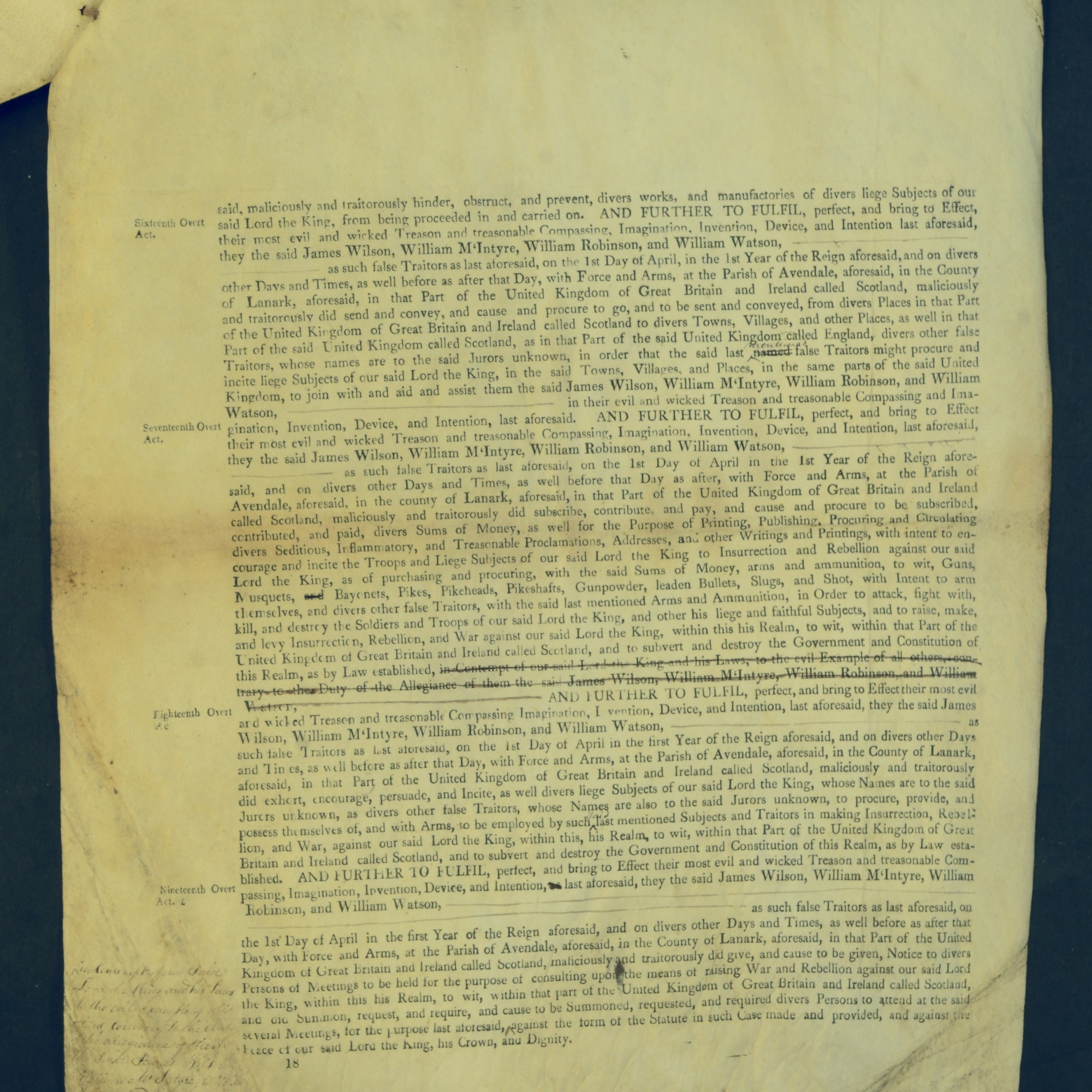 Treason Trials for the County of Lanark, the Strathaven Case. True bills found against four men, James Wilson, William McIntyre, William Robinson and William Watson. National Records of Scotland, Crown copyright, JC21/3/4 p18