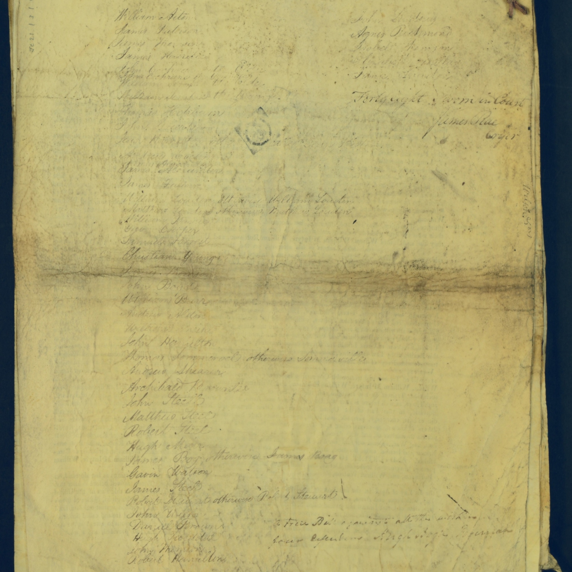 Treason Trials for the County of Lanark, the Strathaven Case. True bills found against four men, James Wilson, William McIntyre, William Robinson and William Watson. National Records of Scotland, Crown copyright, JC21/3/4 p19