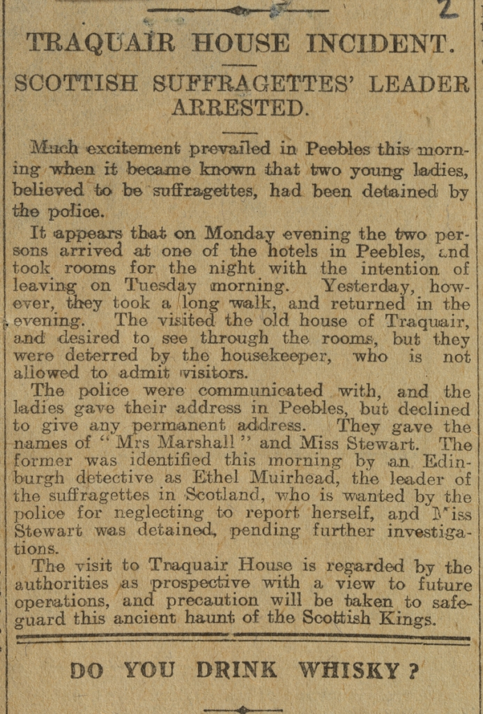 Edinburgh Evening Newspaper clipping, titled 'Traquair House Incident. Scottish Suffragettes Leader Arrested', 18.2.14 (Crown copyright, National Records of Scotland, HH16/40)