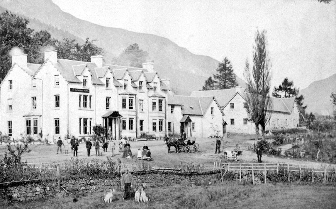 Lochearnhead hotel with staff in gardens, 1860