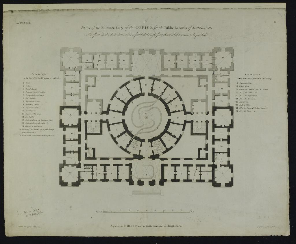 Ground plan of the entrance story of the Office for the Public Records of Scotland
