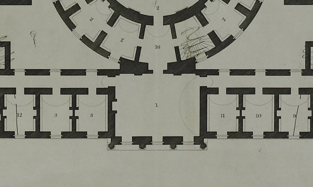 Detail of the first floor plan of the Office for the Public Records of Scotland showing layout and uses of rooms, 4 July 1800.